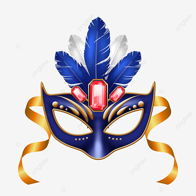 textured blue feather carnival mask