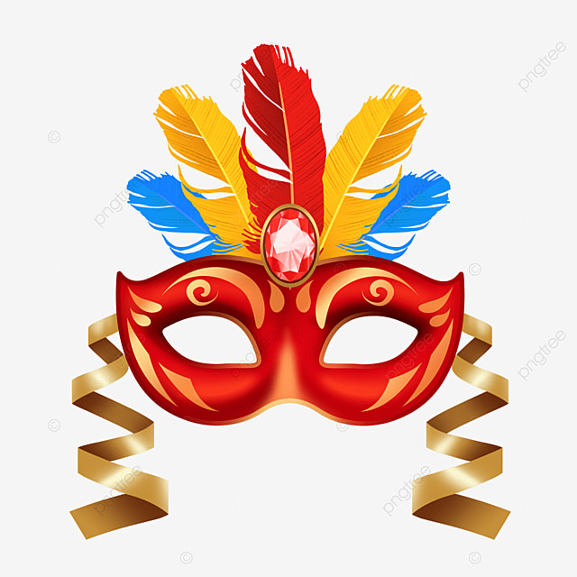 textured colorful feather carnival mask