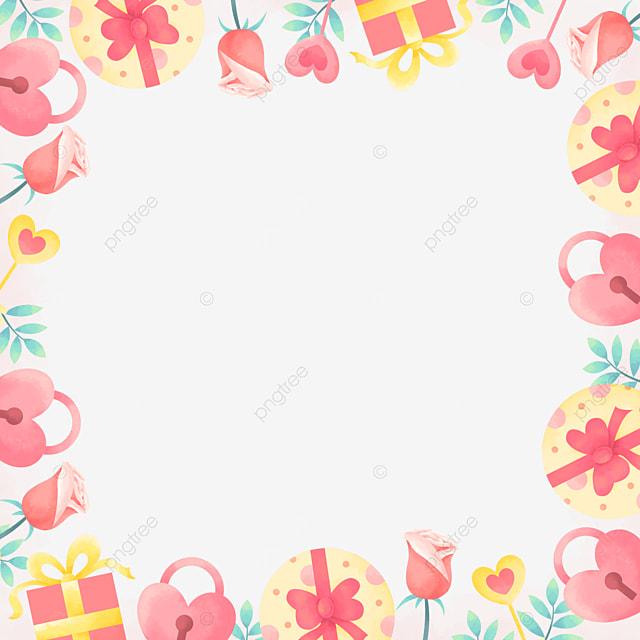 beautiful charming gift box rose pink valentine border