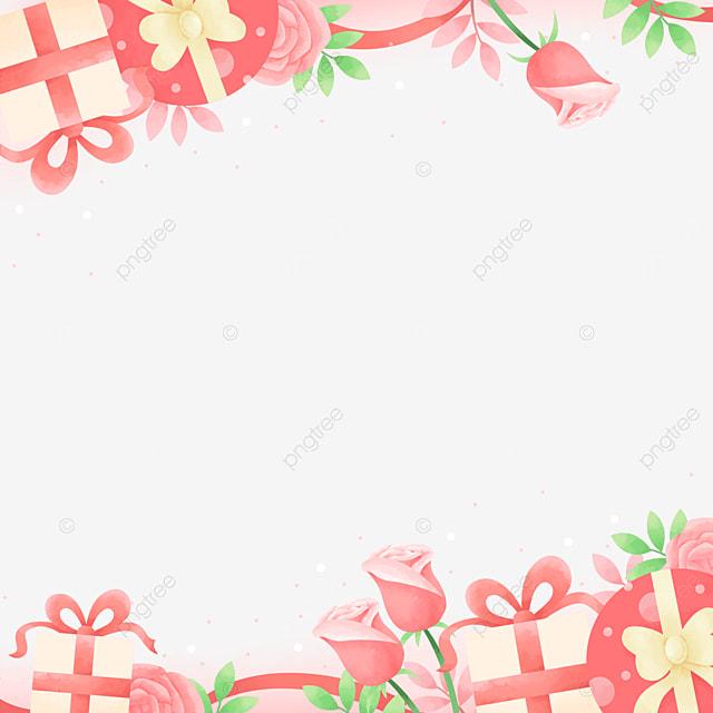 beautiful fashion gift box rose pink valentine border