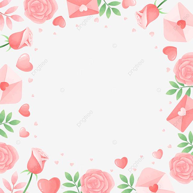 beautiful romantic pink green valentine border