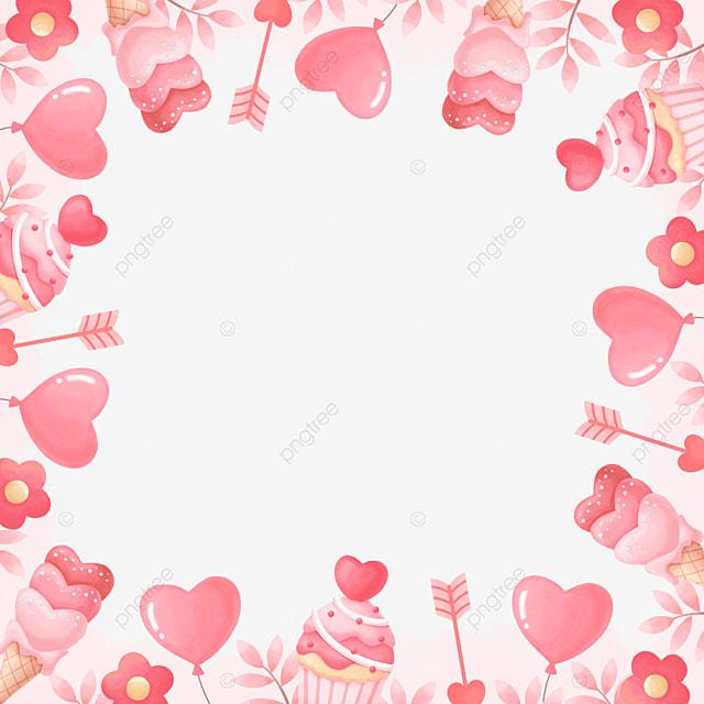 beautiful romantic pink valentine border