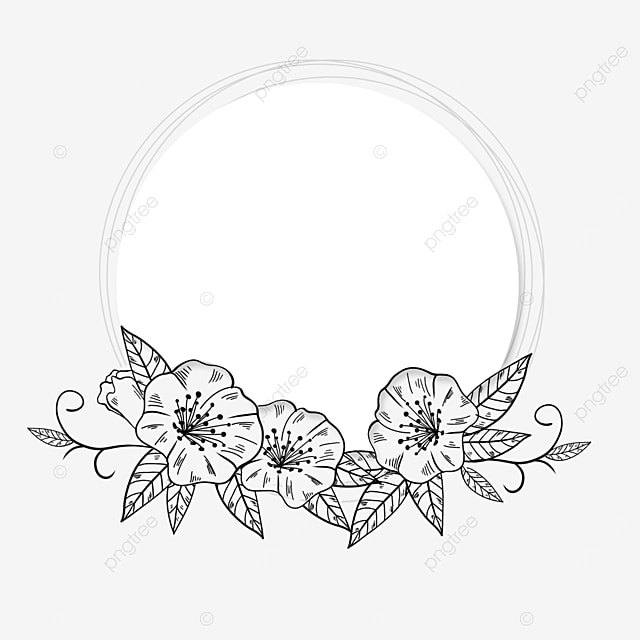 beautiful wedding lineart floral border