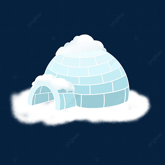 blue and white gradient igloo clip art