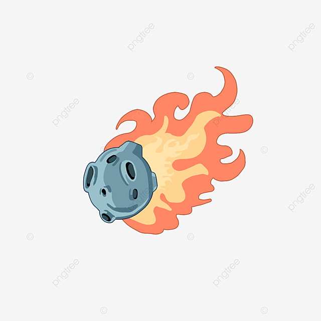 cartoon style flame shooting star clipart