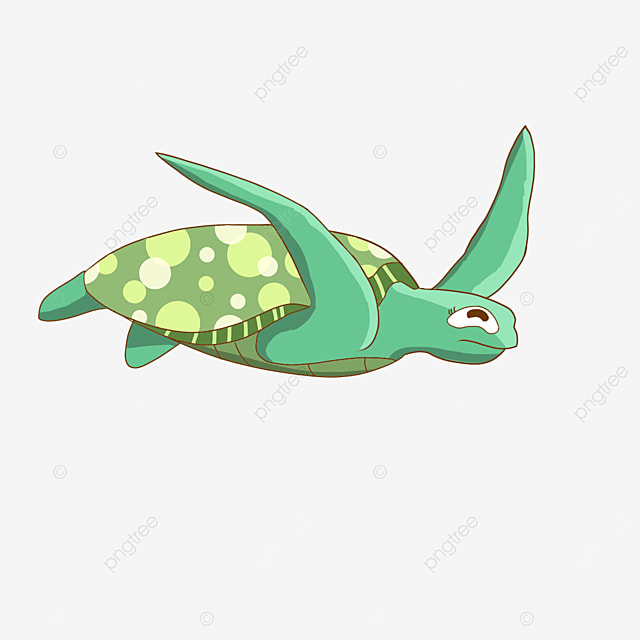 cheerful swimming cartoon sea turtle clipart