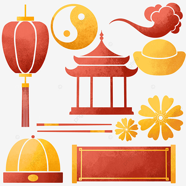chinese new year watercolor style objects