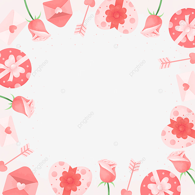 cute and elegant pink white green valentine border