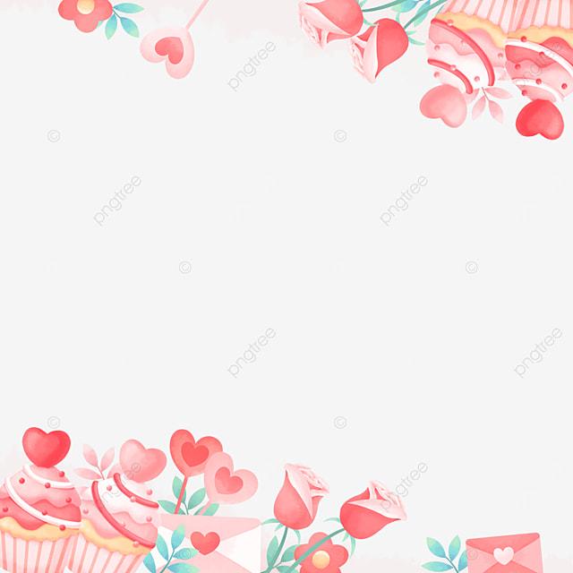cute cake rose pink valentine border