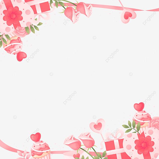 cute charming gift box rose pink valentine border