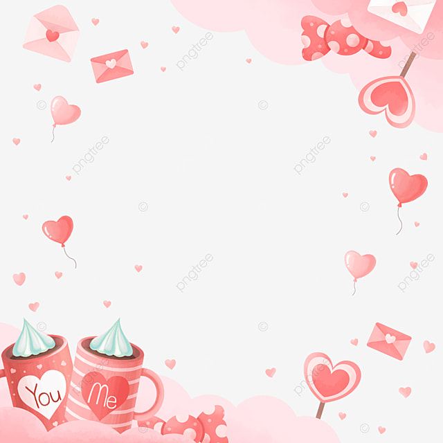 cute cup candy balloon pink valentine border