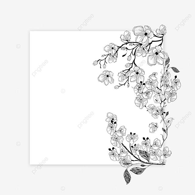 dream wedding lineart flower border