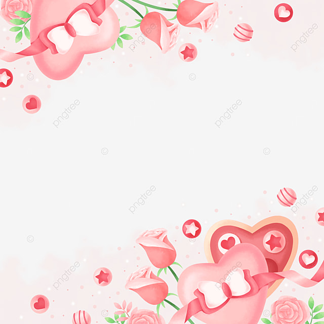 elegant beautiful gift box rose pink valentine border