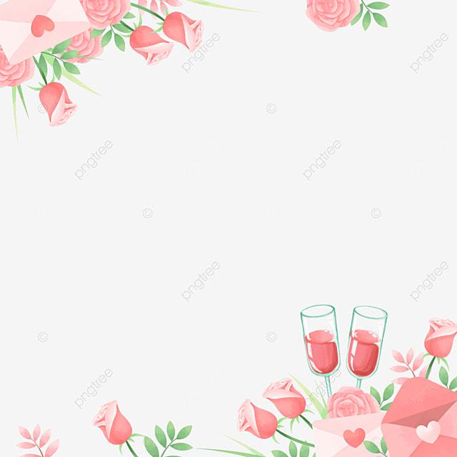 elegant love letter red wine pink valentine border