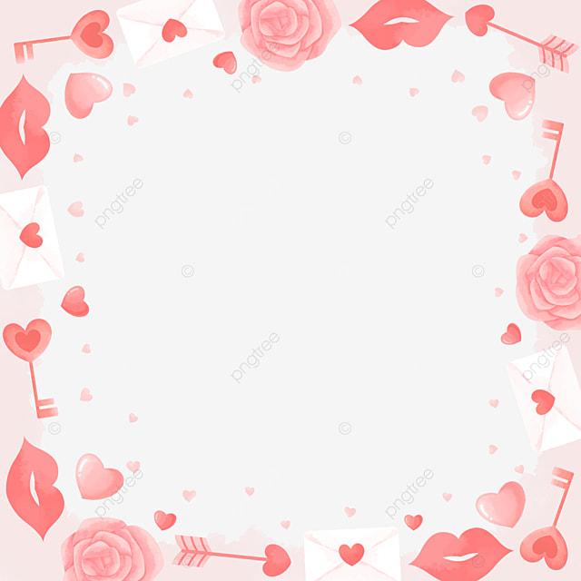 elegant romantic rose lip print pink valentine border