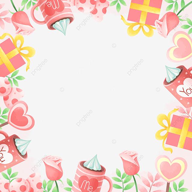 fashion cute pink yellow valentine border