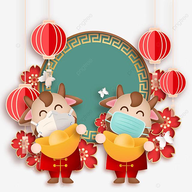 festive calf holding ingot mask protective happy new year illustration