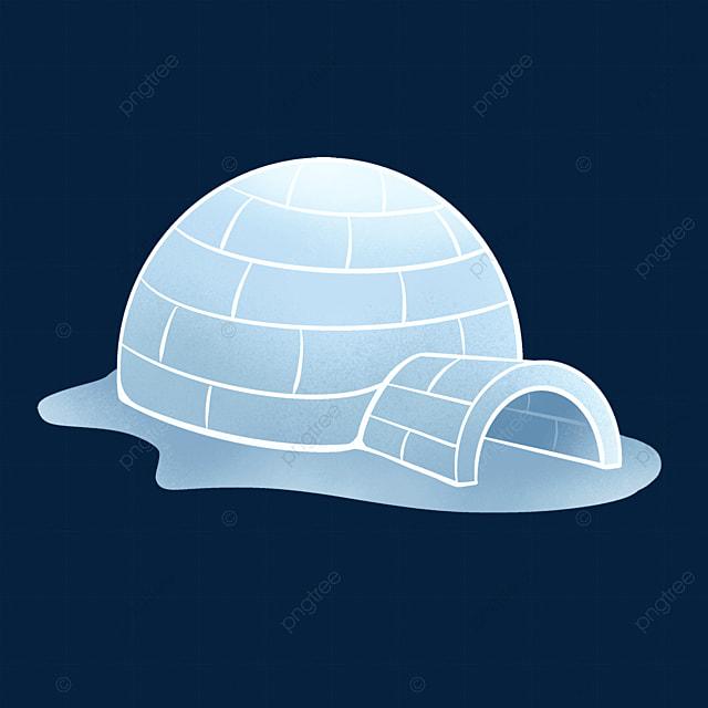 flat blue gradient igloo clipart