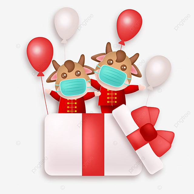 gift box and balloon protective mask calf happy new year illustration