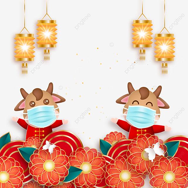golden lantern decoration mask protective calf spring festival ox year illustration