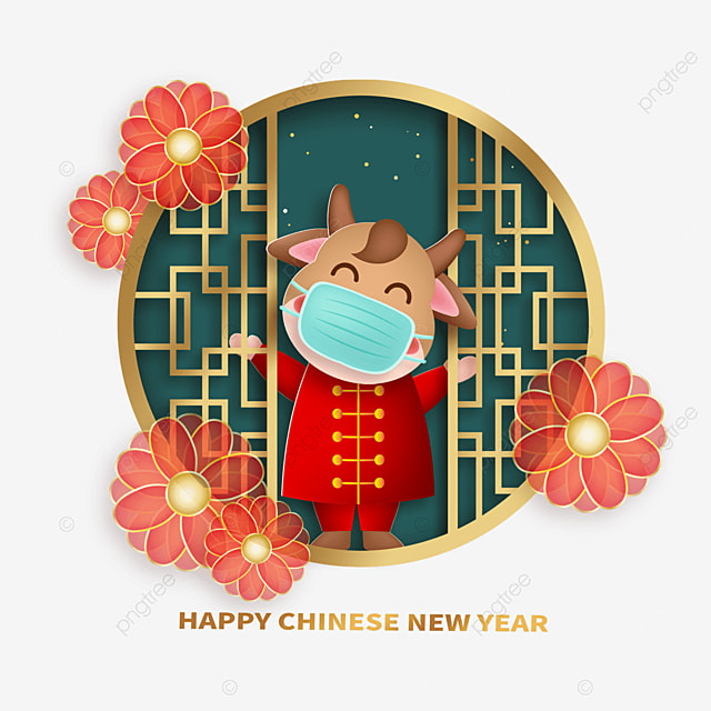 green and gold retro border mask protective calf happy new year spring festival illustration