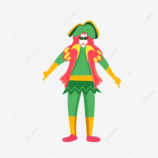 green costume clown dance at venice carnival
