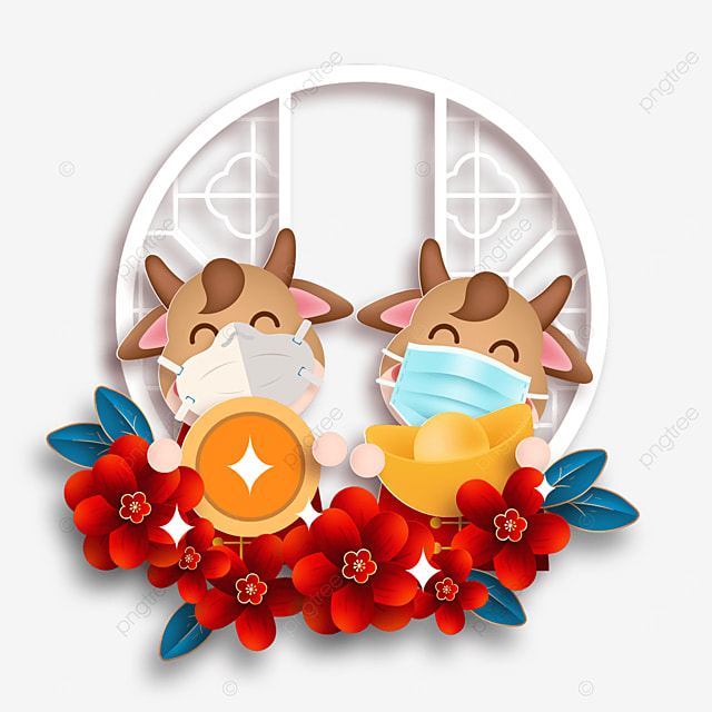 happy new year mask protective calf texture spring festival illustration
