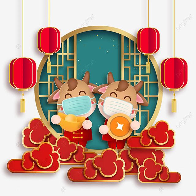 happy new year mask protective ox holding ingots