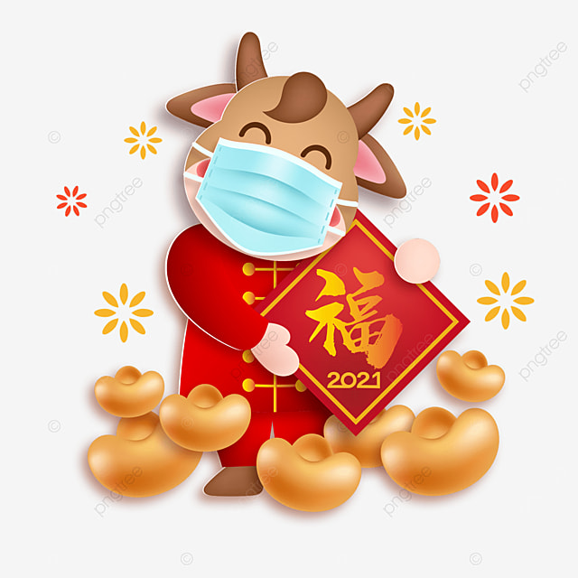 holding blessing character happy new year mask protective calf new year illustration