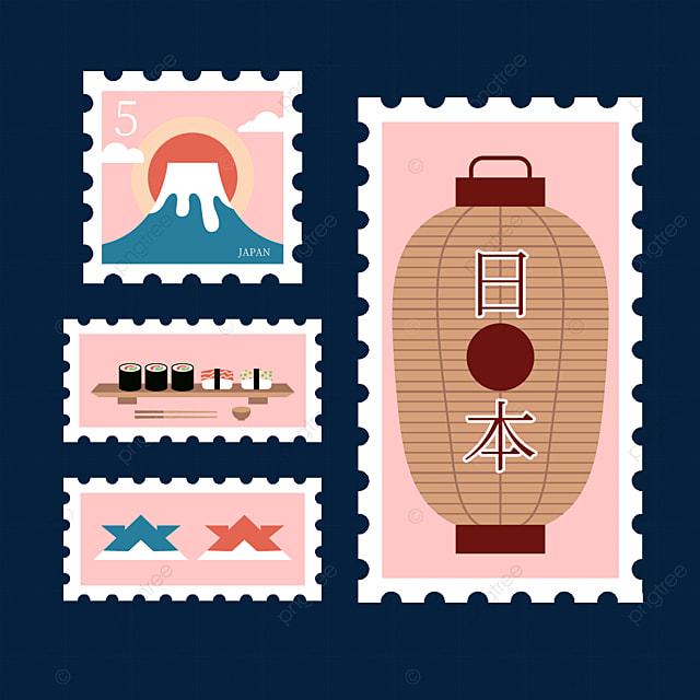 japan pink style stamp