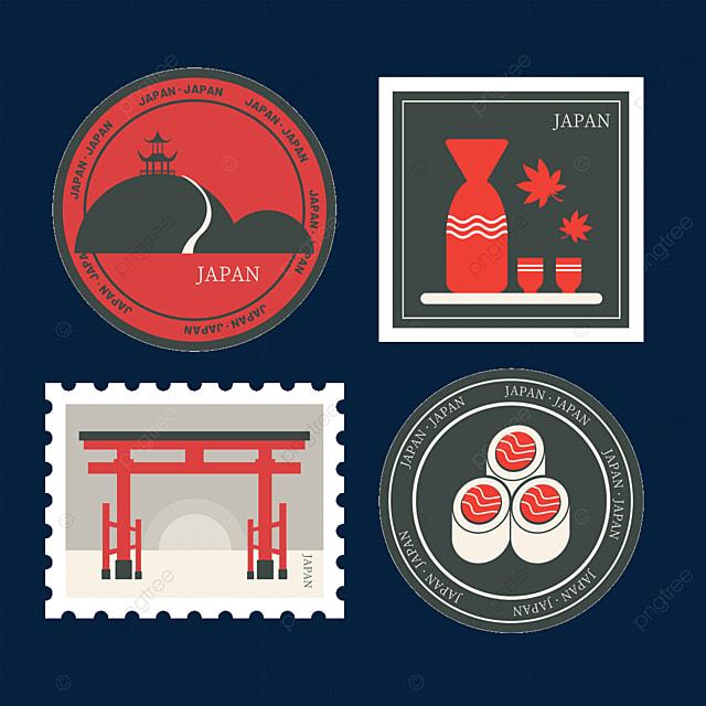 japan style black vintage stamp