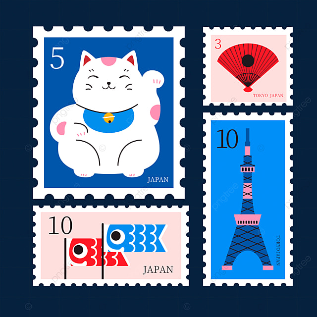 japanese style blue cat stamp