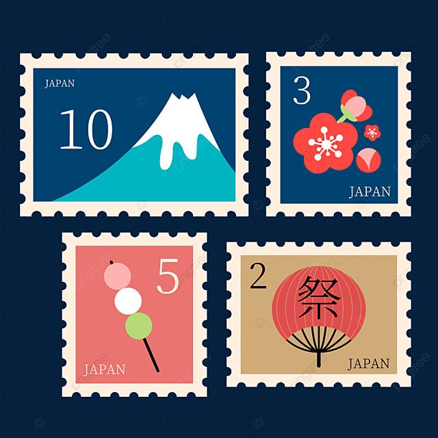 japanese style blue mount fuji stamp