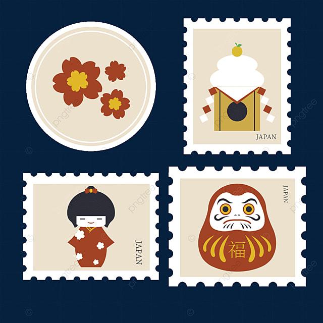japanese style childlike stamp