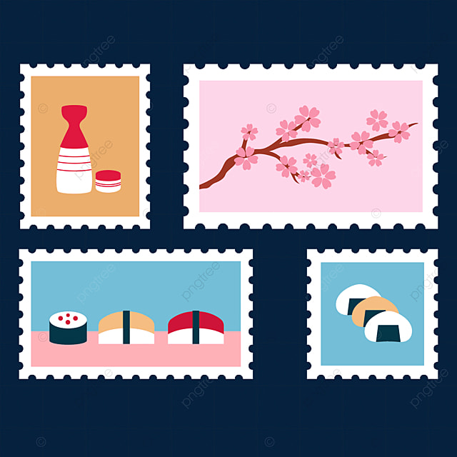 japanese style color gourmet stamp