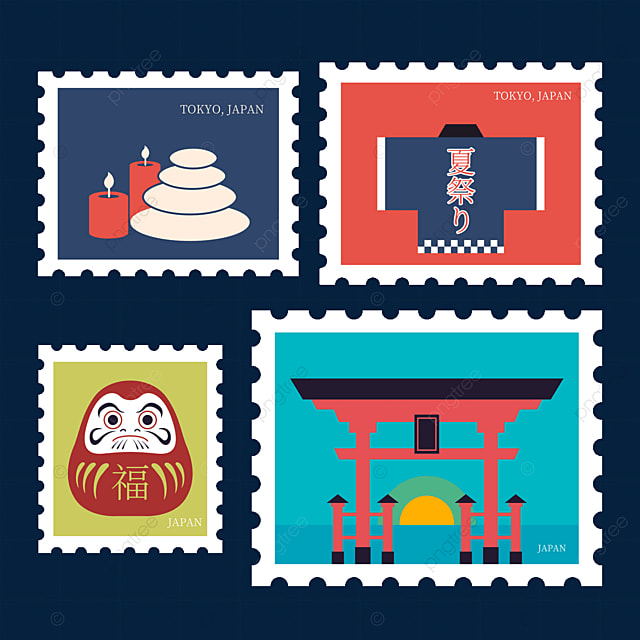 japanese style daruma stamp