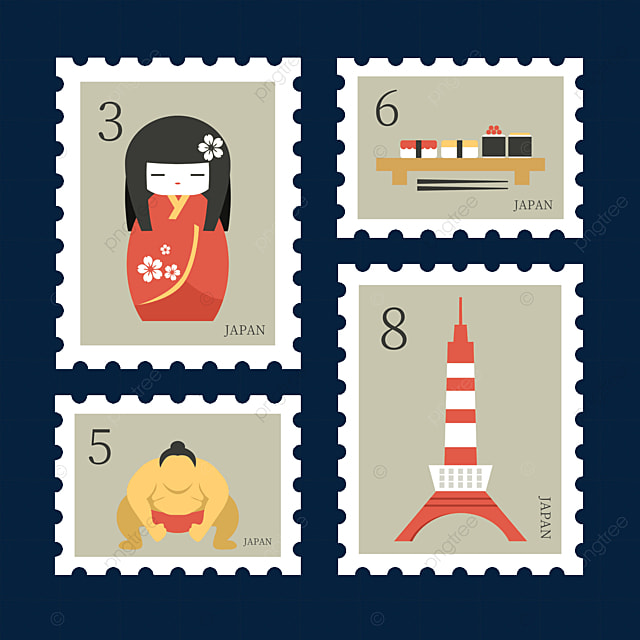 japanese style doll stamp