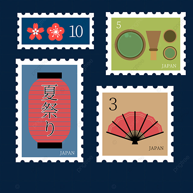 japanese style fan stamp