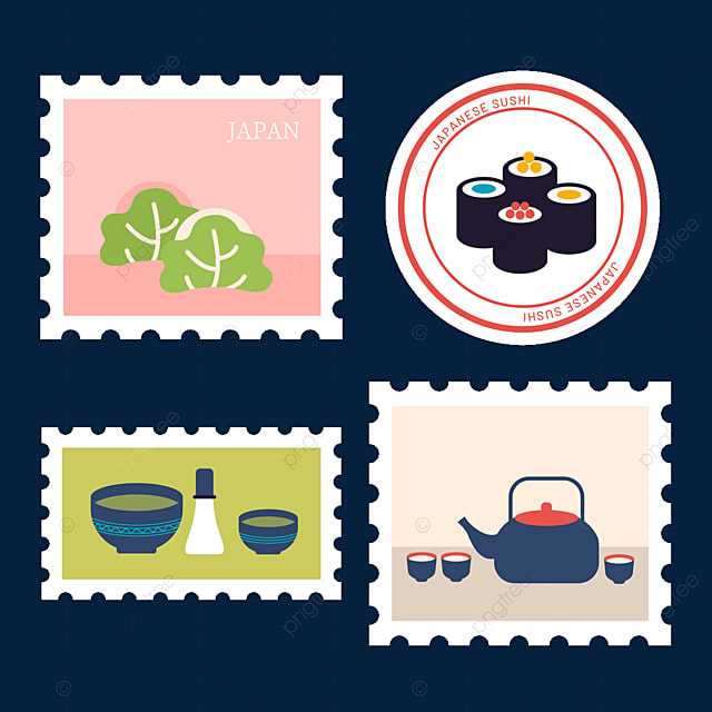 japanese style gourmet stamp