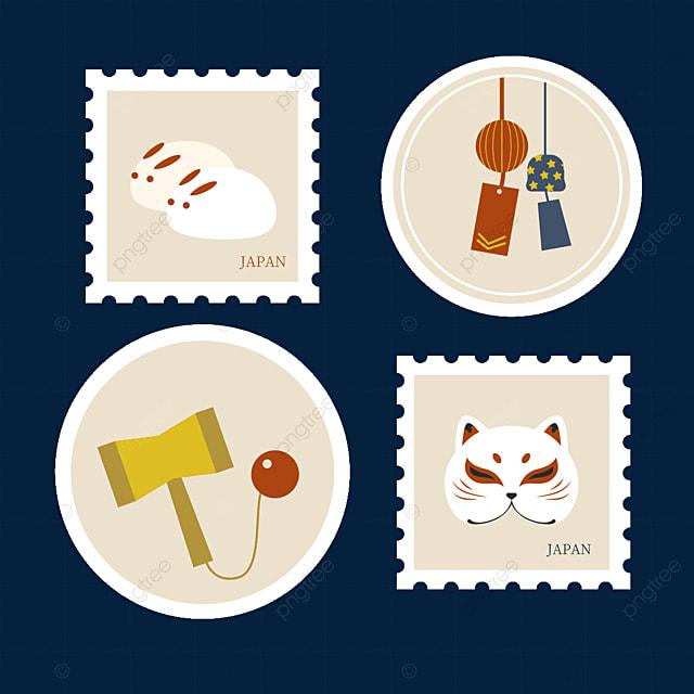japanese style mask stamp