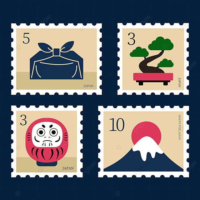 japanese style pine tree decoration stamp