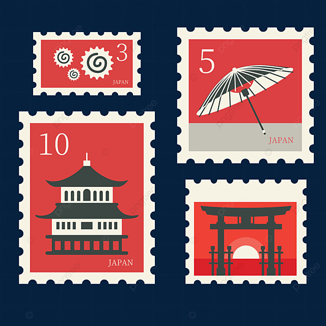 japanese style red creative stamp