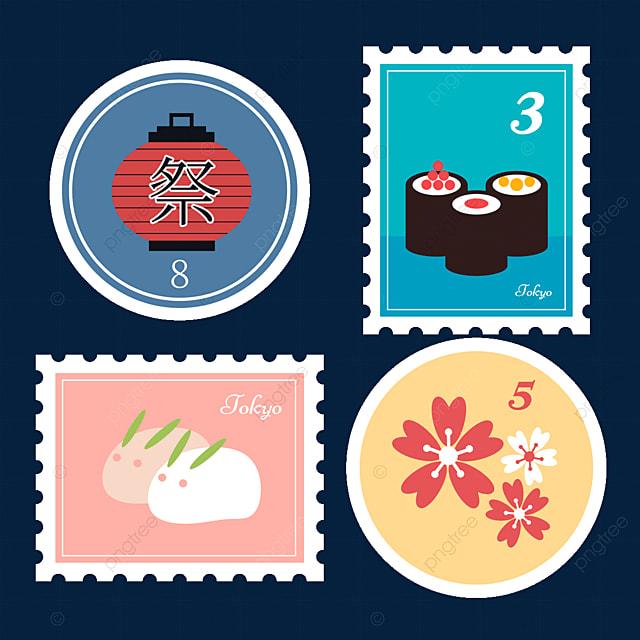 japanese style sushi sakura stamp