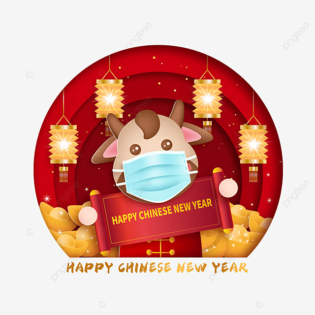 mask protective calf holding a banner chinese new year happy new year illustration