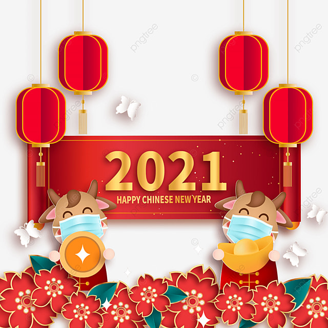 mask protective calf holding coins happy new year festive illustration