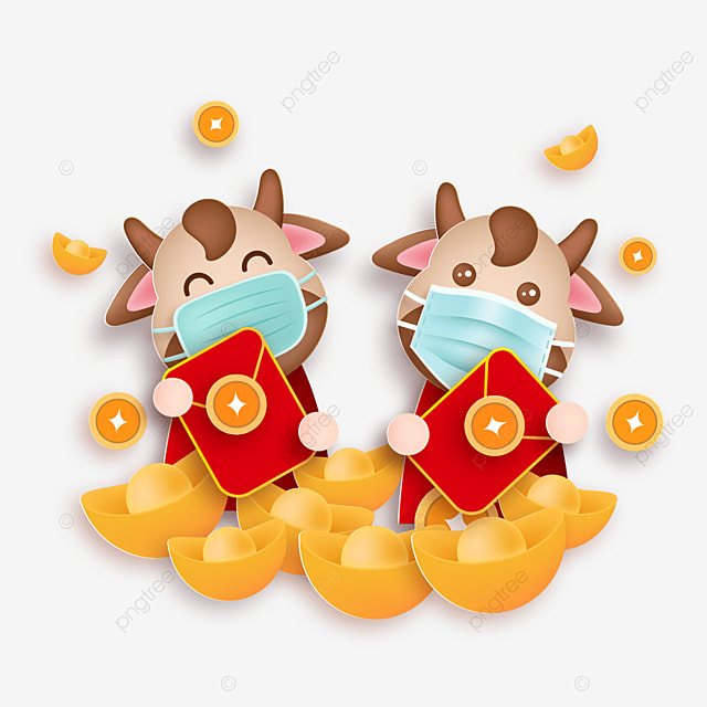 mask protective calf holding red envelope happy new year illustration