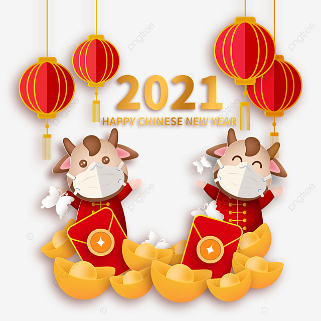 mask protective calf ingot red envelope decoration happy new year ox year illustration