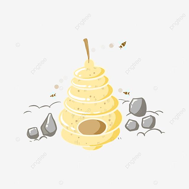orange yellow cartoon beehive clipart