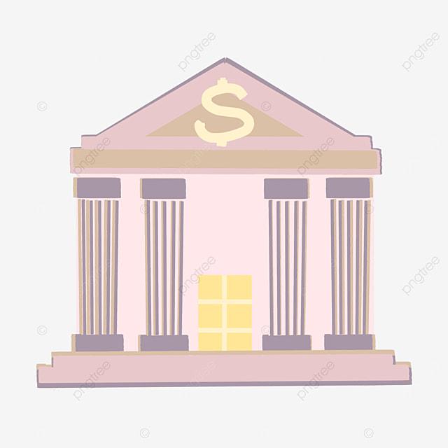 pink cartoon bank clipart