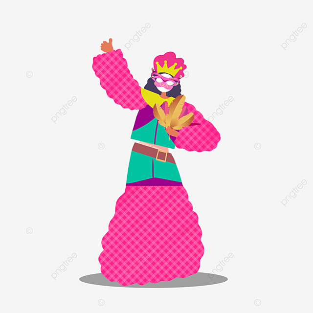 pink figures dancing at venice carnival